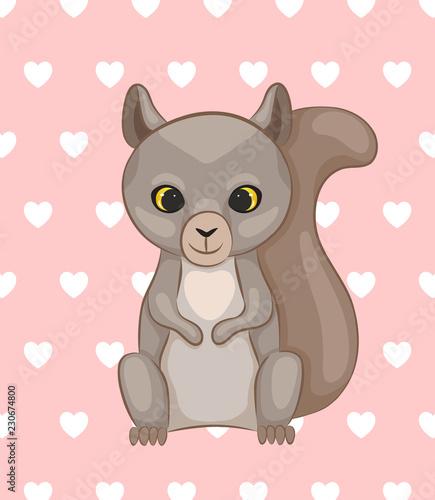 Poster de jardin Zoo Cute cartoon squirrel. Vector illustration.