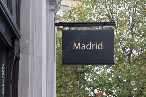 Madrid written on a shop sign concept