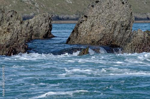 Tuinposter Koraalriffen West Wales sea and rocks
