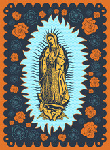 Virgin Of Guadalupe Vintage Silk Screen Style Poster Illustration
