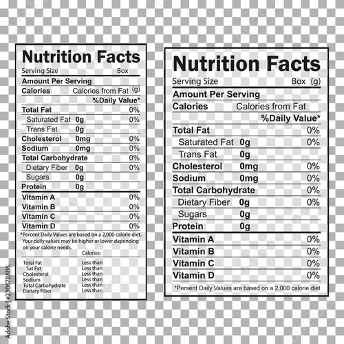 Nutrition Facts information. Information about the amount of fats, calories, carbohydrates Papier Peint