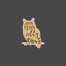 Vintage Hand Drawn Owl With Ch...