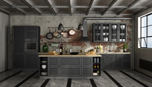 Retro Black Kitchen In A Old R...