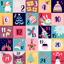Advent Calendar. Set Of Cards With Dates