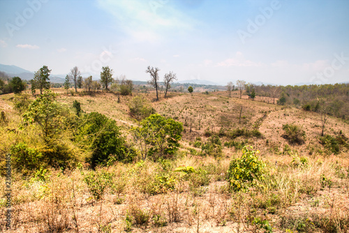 Spoed Foto op Canvas Blauwe hemel Dry landscape near the town of Pai in Northern Thailand