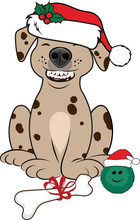 A Vector Illustration Of A Happy Dog With A Big Smile Showing His Teeth And Wearing A Santa Hat With Christmas Presents In Front Of Him.