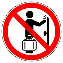 Srr470 SignRoundRed - German - Verbotszeichen:  Betteln Und Hausieren Verboten - (Vertreterbesuch Verboten) - English - Prohibition Sign - No Solicitors / No Soliciting / No Excuses - Red G6719