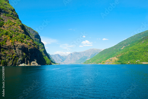 Staande foto Asia land The Breathtaking Norwegian Aurlandsfjord and Naeroyfjord - UNESCO protected fjord - cruise from Flam to Gudvangen on Norway in a Nutshell Tour. Aurlandsfjord landscape.