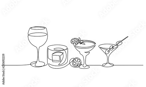 Fototapeta Continuous one line drawing. Bottle and glass of whiskey with ice. Vector illustration obraz