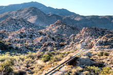 Old Train Tracks In The Desert Of Southern California
