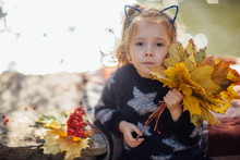 A Sad Little Beautiful Girl With Ears Rolling On A Stone Wall With A Plaid In An Autumn Park With Yellow Leaves And Red Rowan Presses Yellow Leaves To His Face