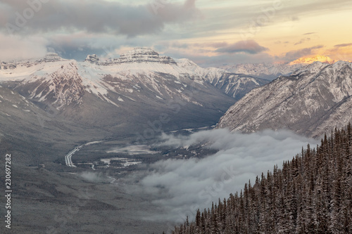 Tuinposter Grijs Wintery view from Sulphur Mountain Peak in Banff Alberta