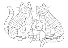 Black And White Page For Kids Coloring Book. Illustration Of Happy Cats Family. Worksheet For Little Children. Developing Skills For Drawing And Coloring. Vector Cartoon Image.