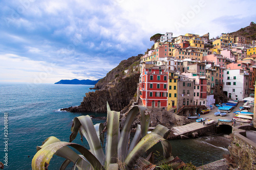 Village of Liguria in Italy between sea and earth