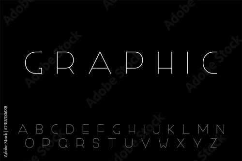 Photo  Vector minimalistic font - creative English alphabet, thin latin letters