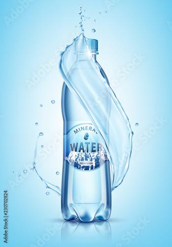 Fotografía  Bottle of water splash on a blue background. Vector illustration