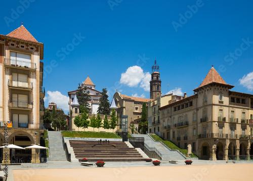 Foto op Aluminium Historisch geb. Main square of Manlleu, Catalonia
