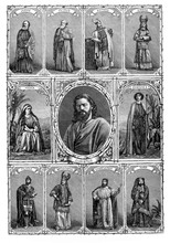 Vintage Poster With The Representative Characters Of The Passion Of The Christ Play