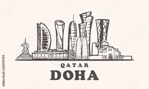 Qatar,Doha skyline hand drawn sketch vector illustration