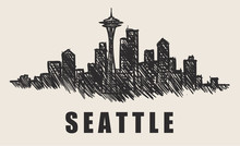 Seattle Skyline,Space Needle Hand-drawn Vector Illustration.Fast Doodle Sketch.