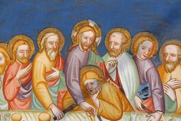 Ultima Cena (particolare); affresco della chiesa romanica di San Martino in Campiglio presso Bolzano
