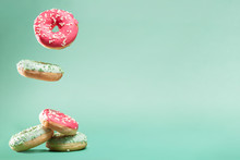 Donuts With Pink And Green Ici...