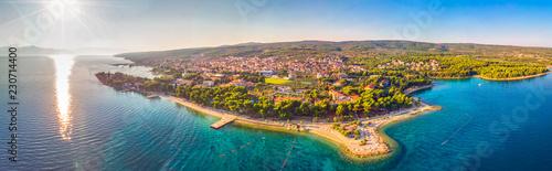 Poster Cote Aerial view of seaside promenade in Supetar town on Brac island with palm trees and turquoise clear ocean water, Supetar, Brac, Croatia, Europe