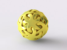 Stellar Amazing Dodecahedron Ball Concept Sign - 3D Rendered Image Gold Icon