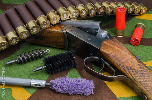 Hunting rifle with brushes for cleaning weapons