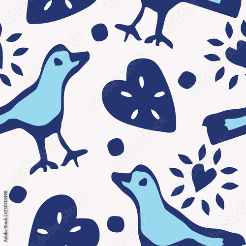 Fotografija  Cute birds and hearts folk art seamless vector pattern in indigo, light blue and white
