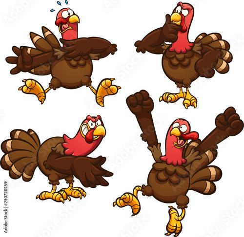 Fotografia Cartoon Thanksgiving turkey in different poses