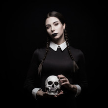 Young Woman With Pale Skin With Skull, Gothic Theme, Mysteryous Atmosphere