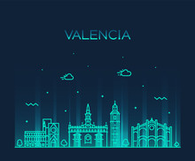 Valencia Skyline Spain Vector City Linear Style