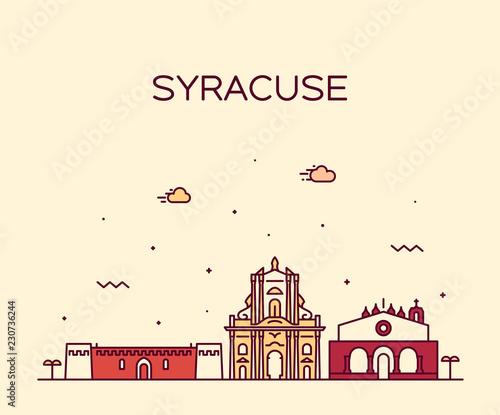 Syracuse skyline Sicily Italy vector linear style Fototapete