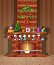 Christmas Red Brick Classic Fireplace