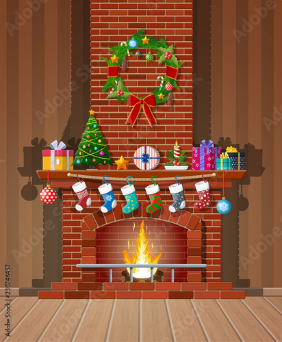 Cuadros en Lienzo Christmas red brick classic fireplace