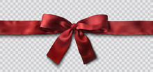 Red Satin Ribbon And Bow Vecto...