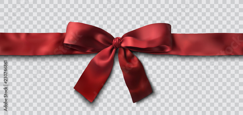 Fényképezés red satin ribbon and bow vector illustration