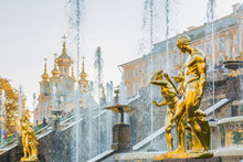 PETERHOF, RUSSIA, OCTOBER 13, 2018 Grand Cascade In Peterhof Or Pertergof, St-Petersburg. The Largest Fountain Ensembles, The Peterhof Palace Included In The UNESCO's World Heritage.