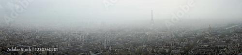 Panoramic view of Paris in the fog Wallpaper Mural