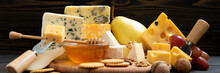 Various Types Of Cheese On A R...