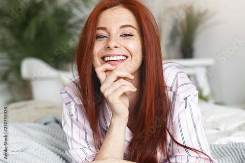 920e290b0e486a Beauty, youth, joy and happiness concept. Adorable cute young red haired  freckled woman
