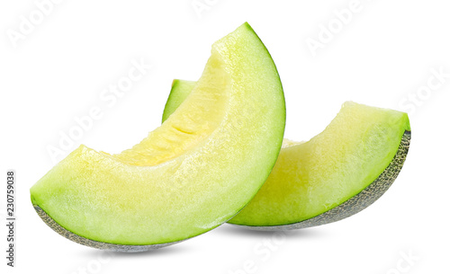 Fototapeta Green melon isolated on white clipping path