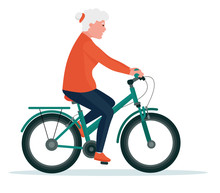 Senior Woman On Cycle Ride. Healthy Lifestyle. Flat Cartoon Illustration Vector Set. Active Sport Concept Set.