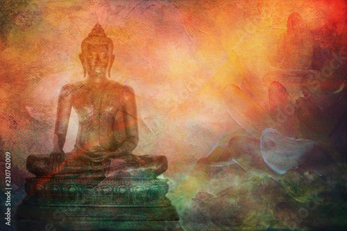 Buddha illustration of buddha statue on abstract painting style background