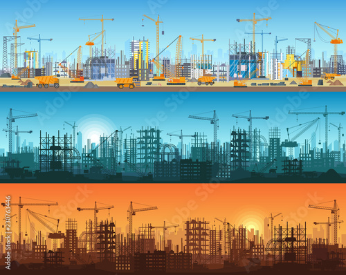 Obraz Horizontal banner of city or website construction. Tractors, grader, bulldozers, excavators and tower cranes with skyscraper under construction. Silhouette and trendy flat vector illustration. - fototapety do salonu