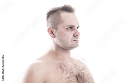 Fotografie, Obraz  Man with hairy chest isolated on white background