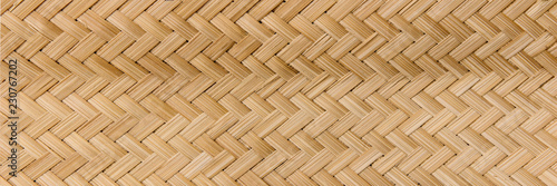 Obraz Panorama Rattan texture, detail handcraft bamboo weaving texture background,bamboo wall background. - fototapety do salonu