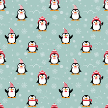 Cute Penguins Cartoon In Red Christmas Hat And Scarf For Merry Christmas Vector Seamless Pattern.