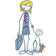 Strichmännchen als Managerin mit Kind